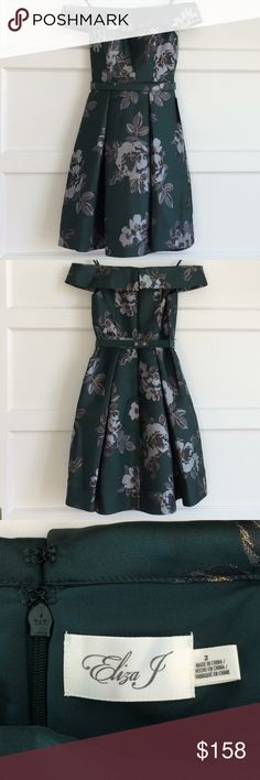 Eliza J Emerald Brocade Off-Shoulder Party Dress Elegant & romantic Eliza J Off-Shoulder Flared Party Dress in emerald green w/metallic gold & silver floral brocade. Classic fit, full, pleated skirt, removable snap belt & 2 side POCKETS!😃 Hidden back zip, 2 hook-and-eye closures. NWT, never worn. Purchased for New Years Eve wedding that I was not able to attend. Fell in looove the minute I tried it on, slim, fitted bodice with full skirt & heavenly fabric. Last pics are only to show fit…