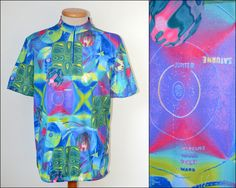 vintage CYCLING JERSEY 80s 90s mens size L short sleeve T-shirt neon Solar…