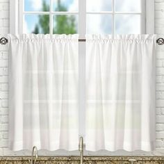 Bright beams of sun hurting your eyes as you wash and dry dishes? Looking for a bit of separation from your neighbors? Just slip a rod through these tasteful tier curtains to give your space a qui Tier Curtains, Rod Pocket Curtains, Cafe Curtains, Grommet Curtains, Kitchen Curtains, Window Valances, Window Blinds, Decor Pillows, Decorative Pillows