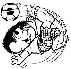 desenhos para colorir turma da monica futebol