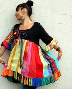 MXL Fantasy rainbow recycled dress tunic by jamfashion on Etsy, $92.00