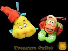 Disney McDonalds Christmas Plush Ornaments Little Mermaid Flounder And Sebastian
