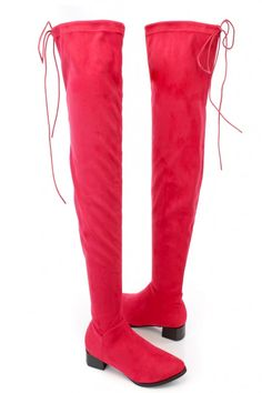 Red Thigh High Boots Chunky Heel Faux Suede