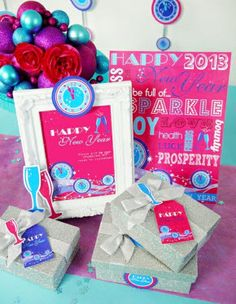 Glam New Year's Eve Holiday Party Printables Supplies