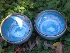 Two stoneware pottery bowls surf blue small dipping by muddyme