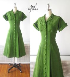 1940s Dress // Bright Olive Green Corduroy by myVintageValentine, $168.00