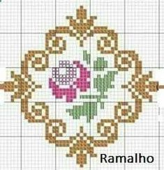 This Pin was discovered by Rab Mini Cross Stitch, Cross Stitch Rose, Cross Stitch Alphabet, Cross Stitch Flowers, Cross Stitch Charts, Cross Stitch Designs, Cross Stitch Patterns, Cross Stitching, Cross Stitch Embroidery