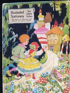 Hansel and Gretel illustrated vintage stationery, via Etsy