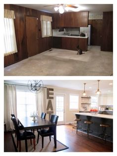 before and after: dining room makeover, open kitchen with subway tile, white countertops, grey and white cabinets