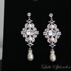 Ivory pearl Earrings, Bridal Earrings with Swarovski Pearl and crystals, Vintage style Wedding Earrings, Wedding Jewelry LEILA. $55.00, via Etsy.
