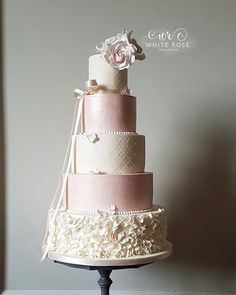 White Rose Cake Design - 5 Tier Ballet Inspired Ruffles and Ribbon Wedding Cake with Blush Sugar Roses by West Yorkshire Cake Maker