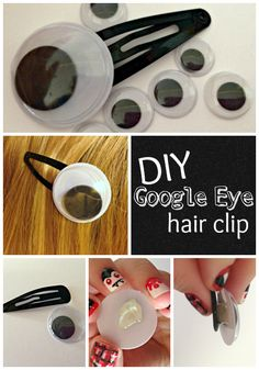DIY Google Eye Hair Clip from TotallyTheBomb.com Halloween Hair, Halloween Crafts For Kids, Holidays Halloween, Halloween Treats, Holiday Crafts, Halloween Decorations, Halloween Costumes, Fairy Costumes, Barrettes
