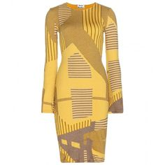 Acne Studios Printed Dress ($865) ❤ liked on Polyvore featuring dresses, yellow, yellow dress and acne studios