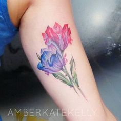 Delicate Purple and Pink Tattoo Design. 30+ Beautiful Flower Tattoo Designs.