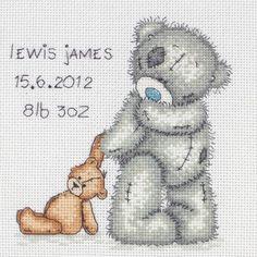 Teddy Birth: Cross stitch sampler (Anchor, TT220) www.stitcher.co.uk