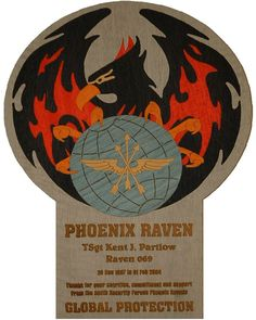 """Phoenix Raven Plaque 13"""" x 10"""" The """"Raven"""" plaque is inlaid with color dyed wood veneer and coated with thick, durable epoxy. Typically the engraving is personalized with the member's name, tour dates, Raven number and farewell statement.  Contact me through Facebook at www.facebook.com/collectablewoods or email at bmwelch@collectablewoods.com"""