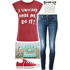 Teenage Ruby Redfort ?? by xoxo3939 on Polyvore featuring Dondup and Converse