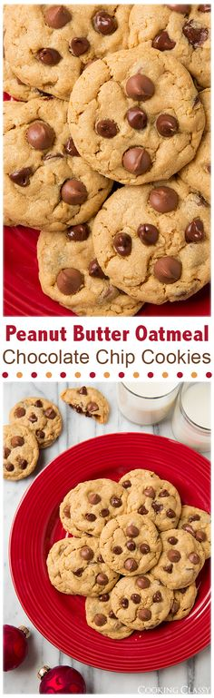 Peanut Butter Oatmeal Chocolate Chip Cookies - these cookies are soft, moist and chewy. They're my new favorite peanut butter cookie!!