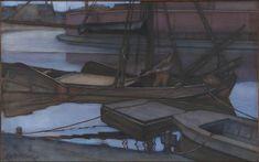 """Going Fishing"" by Piet Mondrian (1900) Style: Post-Impressionism Genre: marina, nocturne, dusk Technique: charcoal, pastel, watercolor on paper, 62cm x 100cm"