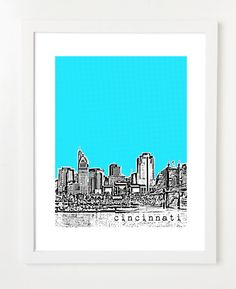 Cincinnati Poster Cincinnati Ohio City Skyline by BugsyAndSprite