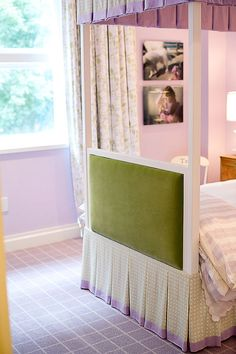Green and lavender is fresh and soothing for a girls room! Love the bed skirts!