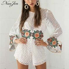 43a65a33e95 NuoJin Crochet Lace Playsuit Women Embroidery Rompers Womens Jumpsuit  Summer Flare Sleeve Casual Blusas Mujer Fashion
