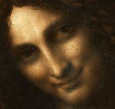 Leonardo Da Vinci: Saint Jean-Baptiste - Le Saint Jean-Baptiste reprend la pose d'un tableau de Léonard connu seulement par des copies (notamment celles du Kunstmuseum de Bâle et de l'Ashmoleum d'Oxford), l'Ange de l'Annonciation, le bras étant simplement tourné vers l'intérieur du personnage au lieu de l'extérieur.