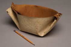 Ojibwe maple syrup basket, made in Minnesota in 1955. The Ojibwe Indians used birch bark buckets to collect sap. Folded and tied from a single piece of bark, they are seamless and leak-proof.