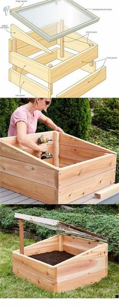42 BEST tutorials on how to build amazing DIY greenhouses simple cold frames and cost-effective hoop house even when you have a small budget and little carpentry skills Everyone can have a productive winter garden and year round harvest A Piece Of Rainbow Diy Garden, Garden Boxes, Indoor Garden, Garden Projects, Outdoor Gardens, Home And Garden, Garden Crafts, Herbs Garden, Diy Storage Garden