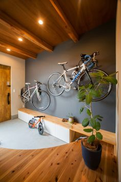 Amazing space-saving bike storage ideas indoor for small room and apartments. These indoor bike storage solutions are for pedal pushers who can't part with their bike. House Design, Bicycle Storage, Space Saving Apartment, Decor, House Interior, House, Bike Storage Apartment, Bike Room, Home Decor
