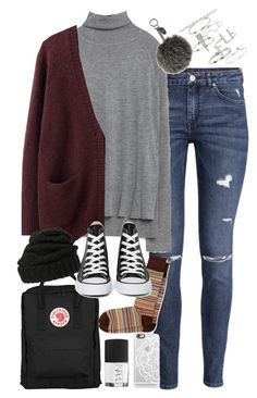 """""""Outfit for university in winter"""" by ferned ❤ liked on Polyvore featuring H&M, Fjällräven, Zara, Acne Studios, Leith, Paul Smith, Converse, Topshop, Fendi and NARS Cosmetics"""