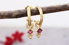 shop for Antique style unique solid gold stud hoop and pendant earrings in 14k, 18k or 22k yellow, white or rose gold with Rubies, Boho gold jewelry. These earrings have a delicate ethnic style. This 14K, 18k, or 22k gold hoop earring set has each a vintage style decorated pendant hanging from a wide gold hoop.