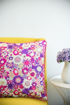Pink Flower Power - Pink Pipping Cushions, Pillows, Color Splash, Flower Power, Pink Flowers, Vibrant, Colours, Handmade, Design