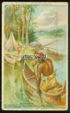 1908 SLEEPY EYE FLOUR ADVERTISING CARD w INDIAN CANOEING OLD SLEEPY EYE