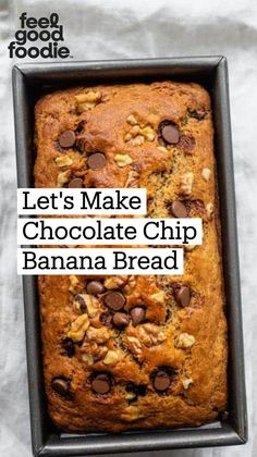 Chocolate Chip Banana Bread, Easy Banana Bread, Banana Bread Recipes, Healthy Banana Recipes, Fun Baking Recipes, Cooking Recipes, Dessert Bread, C'est Bon, Yummy Food