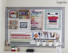 Pegboard in crafts room... ♥.. Now this is a seriously organized craft room.  Love it!!