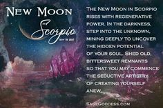 Wow, does this New Moon offer us a powerful opportunity of transformation. What ways have you been transforming, or how would you like to transform as you harness this dark moon energy? Comment below. Wicca Witchcraft, Magick, Pagan, Wiccan, Astrology Scorpio, Scorpio Moon, October New Moon, Moon Facts, You Are On Fire