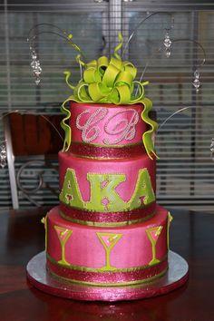 Alpha Kappa Alpha Birthday Cake Buttercream cake with gumpaste bow. Pretty Cakes, Beautiful Cakes, Amazing Cakes, Aka Sorority, Alpha Kappa Alpha Sorority, Divine Nine, Greek Gifts, Green Cake, Pink Apple
