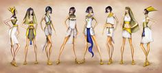ancient Egyptian fashion illustration