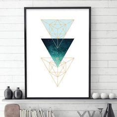 Navy blue and copper geometric printable art Scandinavian indigo blue minimalist large poster Sacred geometry triangles wall decor dark blue Geometric Poster, Geometric Art, Minimalist Poster, Minimalist Art, Sacred Geometry Triangle, Poster Wall, Poster Prints, Scandi Art, Blue And Copper