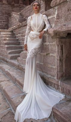 Lior Charchy Wedding Dresses 2018 – India 2018 Bridal Collection The Lior Charchy India 2014 Bridal Collection is a beautiful, trendy, bohemian design with a romantic look. Wedding Dresses 2018, Wedding Dress Trends, Wedding Ideas, Bridal Skirts, Bridal Gowns, Full Gown, Types Of Gowns, Gowns With Sleeves, Bridal Fashion Week