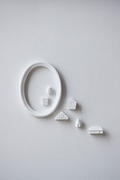 Clay Architecture Wall Installation - Ceramic country houses with oval frame by Artisanie Europe - pure white home decor modern wall art