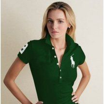 maglie ralph lauren donna in verde big pony.Femmina camicia casual Slim bavero POLO,