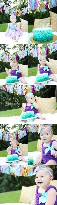 First Birthday Party; Mermaid Party;  Beach Party; Purple and Turquoise; First Birthday Photo Session;  Cake Smash Session;  Austin Photographer;  San Marcos Photographer www.doreanpope.com