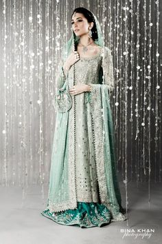 Desi bride, in turquoise instead of red.