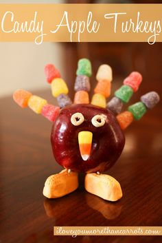 Candy Apple Turkeys :: #DIY #Kid #Craft