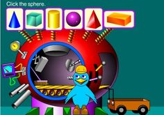 """In """"Solid Figure Factory"""" students create colorful objects from geometric solids in the magical machine run by a friendly blue bird. Smart Board Activities, Smart Board Lessons, Fun Math Games, Math Activities, Teaching Geometry, Teaching Math, Maths, Teaching Ideas, Math Classroom"""