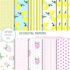 Summer fruits Digital Paper: with yellow lemons, quatrefoil background, green stripes, strawberry background, dot pattern by annakristal on Etsy