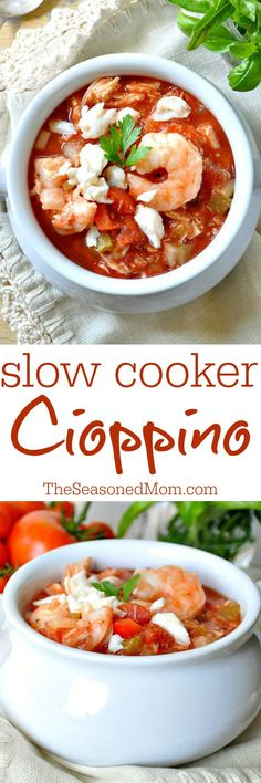 This Slow Cooker Cioppino is a healthy Italian-inspired seafood stew that the whole family loves! It's gluten free, dairy free, and low carb comfort food that everyone can agree on!