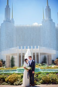 Bride and groom at LDS Temple for their wedding day in Maryland